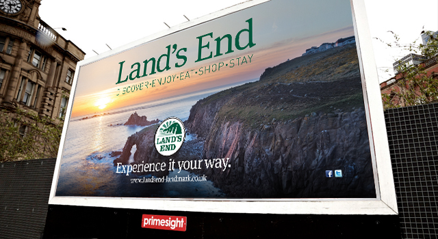 Land's End Landmark press and outdoor advertising