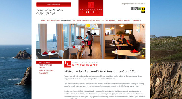 Lands End Hotel Website Design