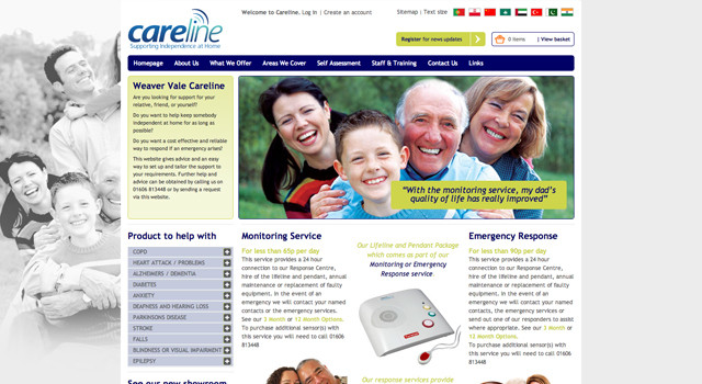 Ecommerce website design and development for Weaver Vale Careline